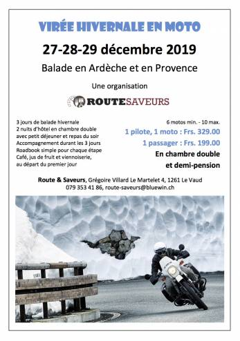 Sortie hivernale Route & Saveurs :: 27-29 décembre 2019 :: Agenda :: ActuMoto.ch