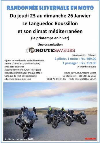 Tour guidé dans le Languedoc-Roussillon :: 23-26 janvier 2020 :: Agenda :: ActuMoto.ch